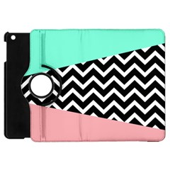 Chevron Green Black Pink Apple Ipad Mini Flip 360 Case by AnjaniArt