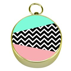 Chevron Green Black Pink Gold Compasses by AnjaniArt