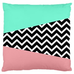 Chevron Green Black Pink Large Flano Cushion Case (two Sides)