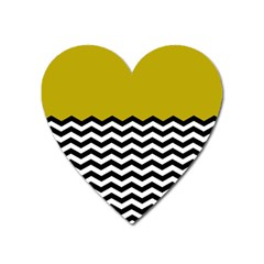 Colorblock Chevron Pattern Mustard Heart Magnet by AnjaniArt