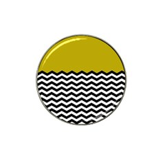 Colorblock Chevron Pattern Mustard Hat Clip Ball Marker by AnjaniArt