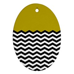 Colorblock Chevron Pattern Mustard Oval Ornament (two Sides)