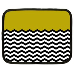 Colorblock Chevron Pattern Mustard Netbook Case (large) by AnjaniArt