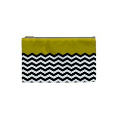 Colorblock Chevron Pattern Mustard Cosmetic Bag (small)  by AnjaniArt