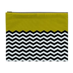 Colorblock Chevron Pattern Mustard Cosmetic Bag (xl) by AnjaniArt