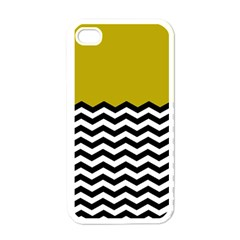 Colorblock Chevron Pattern Mustard Apple Iphone 4 Case (white) by AnjaniArt