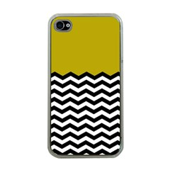 Colorblock Chevron Pattern Mustard Apple Iphone 4 Case (clear) by AnjaniArt