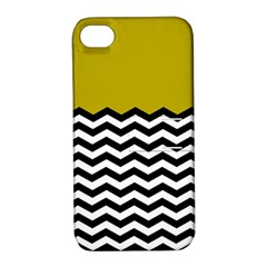 Colorblock Chevron Pattern Mustard Apple Iphone 4/4s Hardshell Case With Stand by AnjaniArt