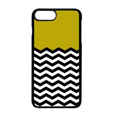 Colorblock Chevron Pattern Mustard Apple Iphone 7 Plus Seamless Case (black) by AnjaniArt