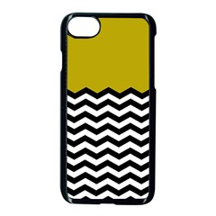 Colorblock Chevron Pattern Mustard Apple Iphone 7 Seamless Case (black) by AnjaniArt