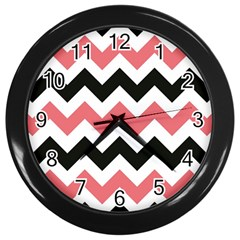 Chevron Crazy On Pinterest Blue Color Wall Clocks (black) by AnjaniArt