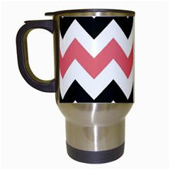 Chevron Crazy On Pinterest Blue Color Travel Mugs (white) by AnjaniArt