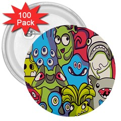 Colourful Monster Flooring 3  Buttons (100 Pack)