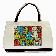 Colourful Monster Flooring Basic Tote Bag by AnjaniArt