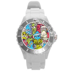 Colourful Monster Flooring Round Plastic Sport Watch (l) by AnjaniArt