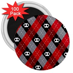 Cute Scull 3  Magnets (100 Pack)