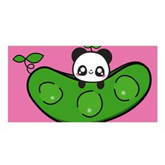 Edamame Panda Pink Cute Animals Satin Shawl by AnjaniArt