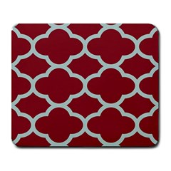 Flower Red Light Blue Large Mousepads by AnjaniArt