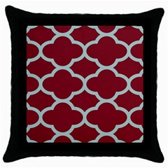 Flower Red Light Blue Throw Pillow Case (black) by AnjaniArt