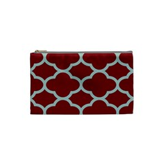 Flower Red Light Blue Cosmetic Bag (small)