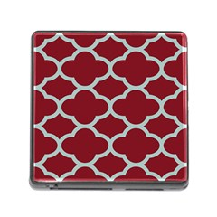 Flower Red Light Blue Memory Card Reader (square) by AnjaniArt