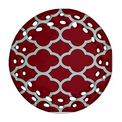 Flower Red Light Blue Round Filigree Ornament (2side) by AnjaniArt