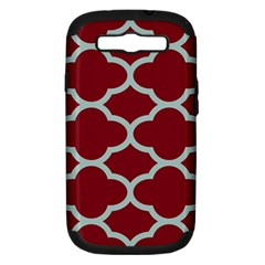 Flower Red Light Blue Samsung Galaxy S Iii Hardshell Case (pc+silicone)