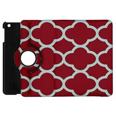 Flower Red Light Blue Apple Ipad Mini Flip 360 Case by AnjaniArt