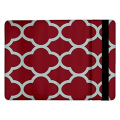 Flower Red Light Blue Samsung Galaxy Tab Pro 12 2  Flip Case by AnjaniArt