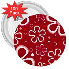 Flower Red Cute 3  Buttons (100 Pack)