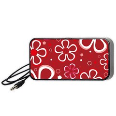 Flower Red Cute Portable Speaker (black)  by AnjaniArt