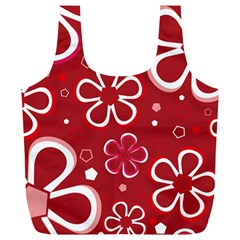 Flower Red Cute Full Print Recycle Bags (l)