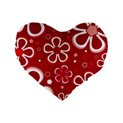 Flower Red Cute Standard 16  Premium Flano Heart Shape Cushions by AnjaniArt