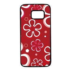 Flower Red Cute Samsung Galaxy S7 Black Seamless Case by AnjaniArt