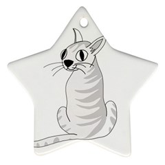 White Cat  Star Ornament (two Sides)  by Valentinaart