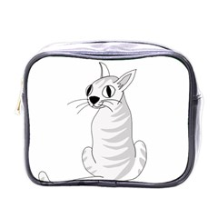 White Cat  Mini Toiletries Bags by Valentinaart