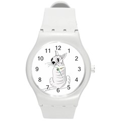 White Cat  Round Plastic Sport Watch (m) by Valentinaart