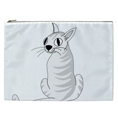 White Cat  Cosmetic Bag (xxl)  by Valentinaart