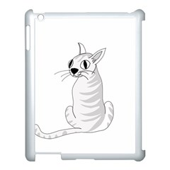 White Cat  Apple Ipad 3/4 Case (white) by Valentinaart