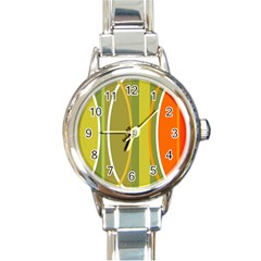 Graphic Elements Large Landscape Round Italian Charm Watch by AnjaniArt