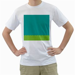 Green Blue Men s T Shirt (white) (two Sided)