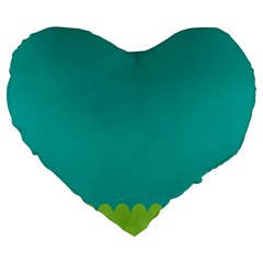 Green Blue Large 19  Premium Heart Shape Cushions