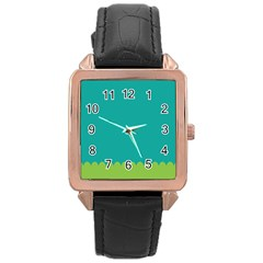 Green Blue Rose Gold Leather Watch