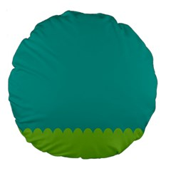 Green Blue Large 18  Premium Flano Round Cushions