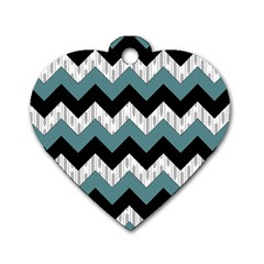 Green Black Pattern Chevron Dog Tag Heart (one Side) by AnjaniArt