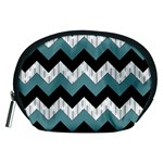 Green Black Pattern Chevron Accessory Pouches (Medium)  Front
