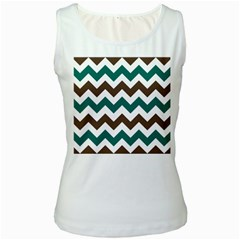 Green Chevron Women s White Tank Top