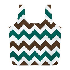 Green Chevron Full Print Recycle Bags (l)  by AnjaniArt