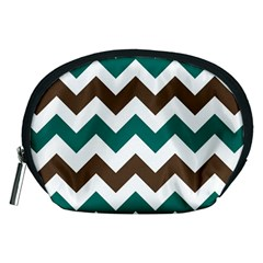 Green Chevron Accessory Pouches (medium)  by AnjaniArt
