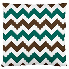 Green Chevron Large Flano Cushion Case (one Side)